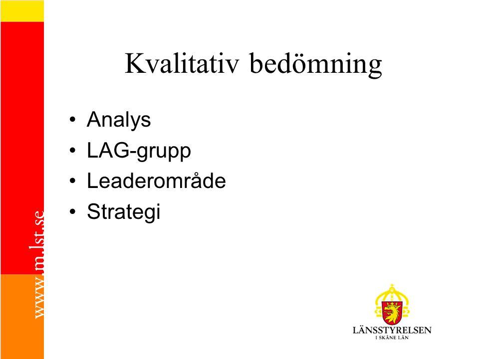 Kvalitativ bedömning •A•Analys •L•LAG-grupp •L•Leaderområde •S•Strategi