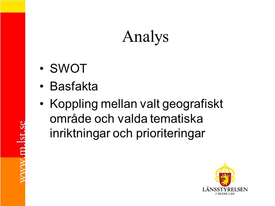 Analys •SWOT •Basfakta •Koppling mellan valt geografiskt område och valda tematiska inriktningar och prioriteringar