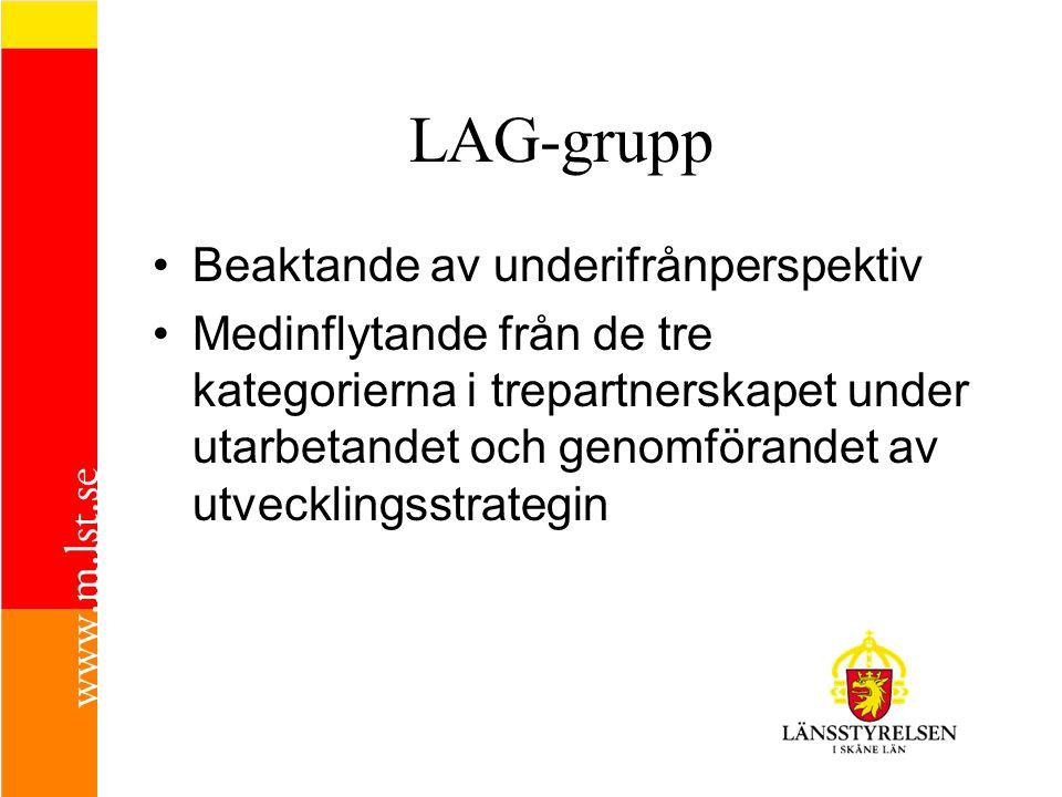 LAG-grupp •B•Beaktande av underifrånperspektiv •M•Medinflytande från de tre kategorierna i trepartnerskapet under utarbetandet och genomförandet av ut