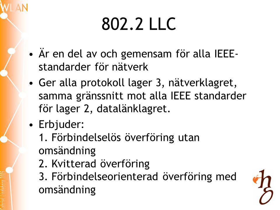 802.2 LLC •Är en del av och gemensam för alla IEEE- standarder för nätverk •Ger alla protokoll lager 3, nätverklagret, samma gränssnitt mot alla IEEE standarder för lager 2, datalänklagret.