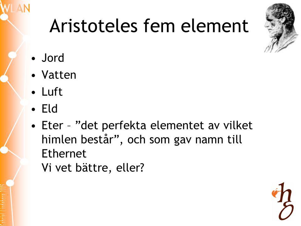 Aristoteles fem element •Jord •Vatten •Luft •Eld •Eter – det perfekta elementet av vilket himlen består , och som gav namn till Ethernet Vi vet bättre, eller?