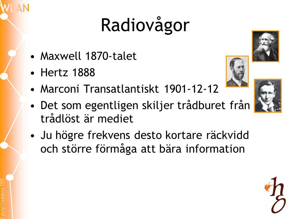 Radiovågor •Maxwell 1870-talet •Hertz 1888 •Marconi Transatlantiskt 1901-12-12 •Det som egentligen skiljer trådburet från trådlöst är mediet •Ju högre frekvens desto kortare räckvidd och större förmåga att bära information