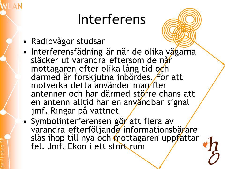 Interferens •Radiovågor studsar •Interferensfädning är när de olika vägarna släcker ut varandra eftersom de når mottagaren efter olika lång tid och därmed är förskjutna inbördes.