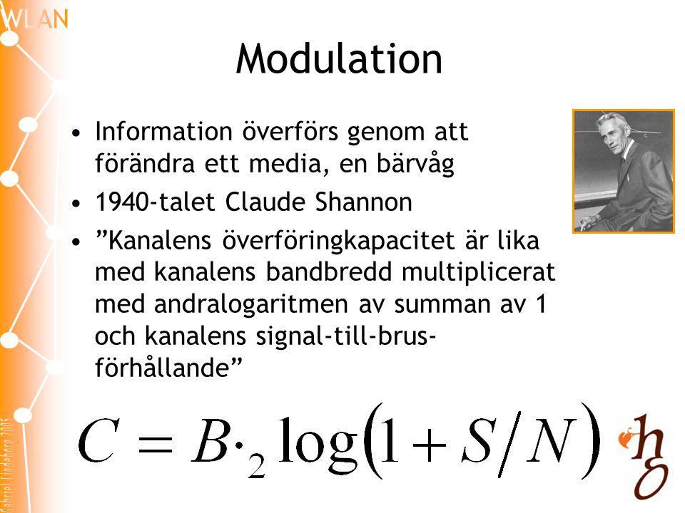 Modulation •Information överförs genom att förändra ett media, en bärvåg •1940-talet Claude Shannon • Kanalens överföringkapacitet är lika med kanalens bandbredd multiplicerat med andralogaritmen av summan av 1 och kanalens signal-till-brus- förhållande