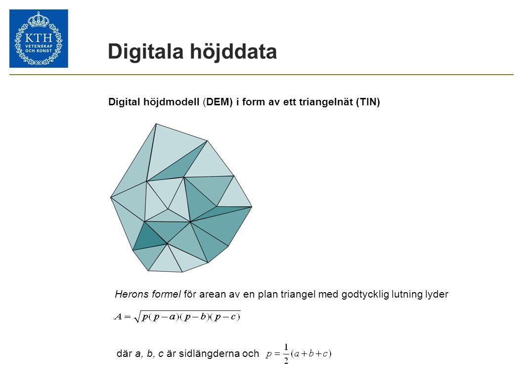 Digitala höjddata Digital höjdmodell (DEM) i form av ett triangelnät (TIN) Herons formel för arean av en plan triangel med godtycklig lutning lyder dä