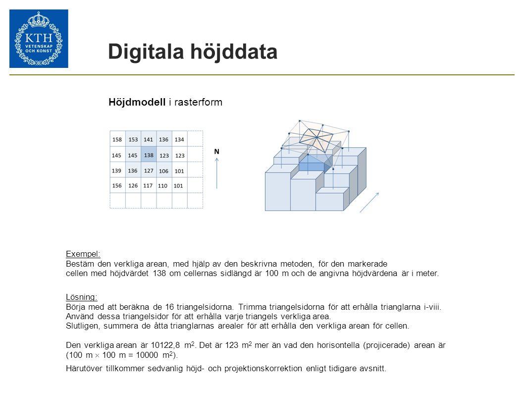 Digitala höjddata Höjdmodell i rasterform Exempel: Bestäm den verkliga arean, med hjälp av den beskrivna metoden, för den markerade cellen med höjdvär