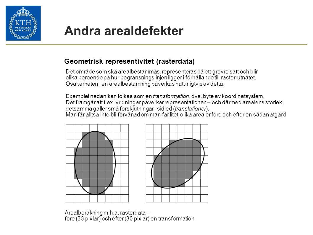 Geometrisk representivitet (rasterdata) Arealberäkning m.h.a. rasterdata – före (33 pixlar) och efter (30 pixlar) en transformation Andra arealdefekte