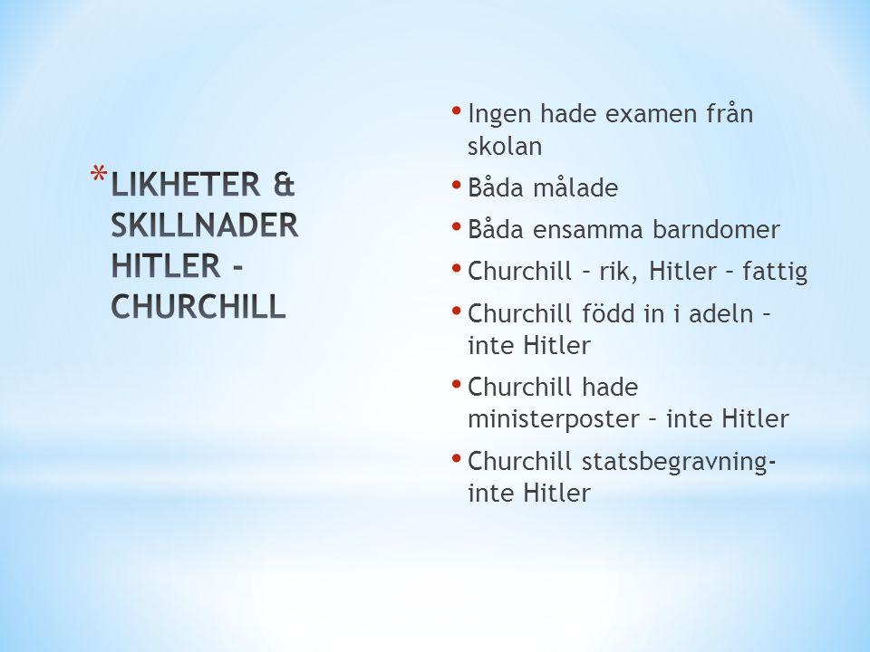 • Ingen hade examen från skolan • Båda målade • Båda ensamma barndomer • Churchill – rik, Hitler – fattig • Churchill född in i adeln – inte Hitler •