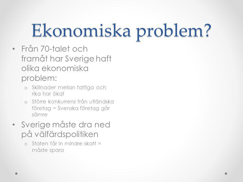 Ekonomiska problem? • Från 70-talet och framåt har Sverige haft olika ekonomiska problem: o Skillnader mellan fattiga och rika har ökat o Större konku