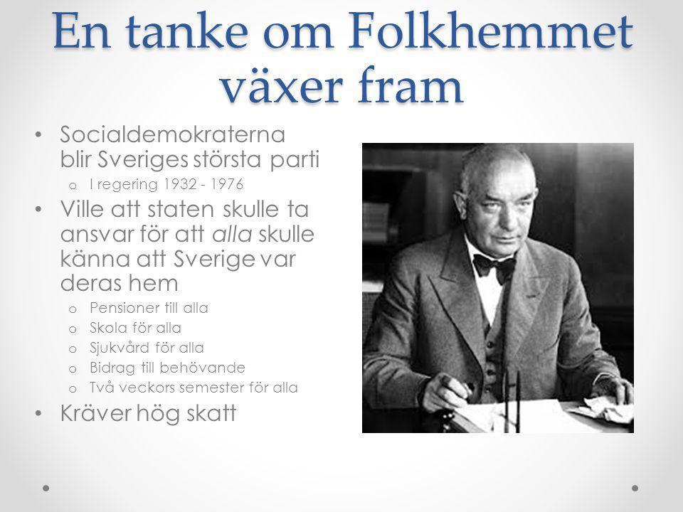 En tanke om Folkhemmet växer fram • Socialdemokraterna blir Sveriges största parti o I regering 1932 - 1976 • Ville att staten skulle ta ansvar för at