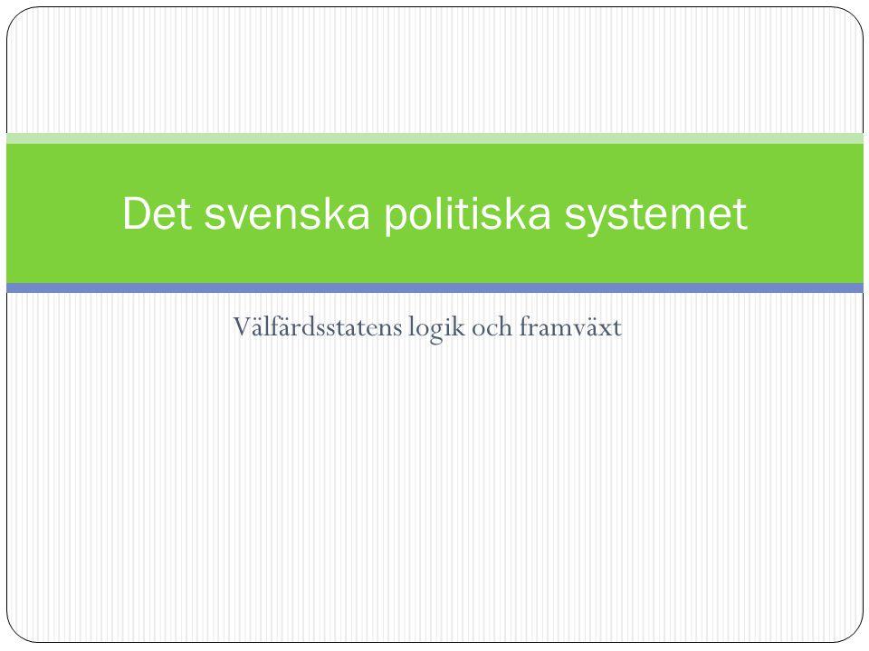 Välfärdsstatens logik och framväxt Det svenska politiska systemet