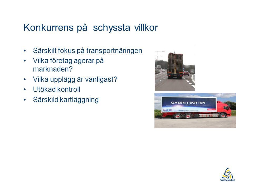 Konkurrens på schyssta villkor •Särskilt fokus på transportnäringen •Vilka företag agerar på marknaden.
