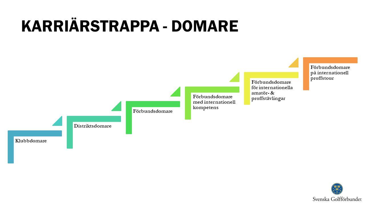 KARRIÄRSTRAPPA - DOMARE Klubbdomare Distriktsdomare Förbundsdomare Förbundsdomare med internationell kompetens Förbundsdomare för internationella amat