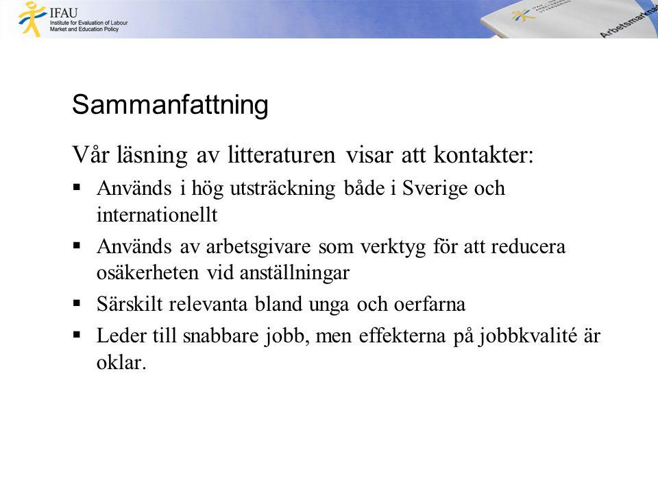 Sammanfattning Vår läsning av litteraturen visar att kontakter:  Används i hög utsträckning både i Sverige och internationellt  Används av arbetsgivare som verktyg för att reducera osäkerheten vid anställningar  Särskilt relevanta bland unga och oerfarna  Leder till snabbare jobb, men effekterna på jobbkvalité är oklar.
