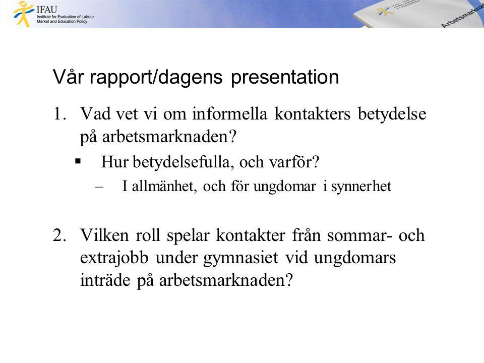Vår rapport/dagens presentation 1.Vad vet vi om informella kontakters betydelse på arbetsmarknaden.