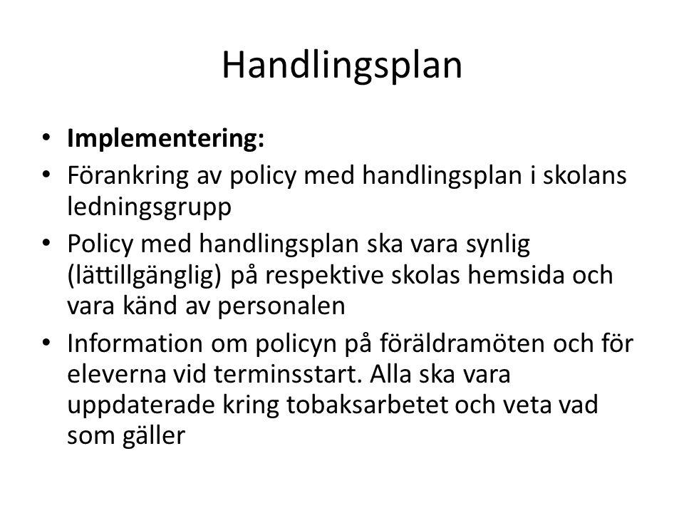 Handlingsplan • Implementering: • Förankring av policy med handlingsplan i skolans ledningsgrupp • Policy med handlingsplan ska vara synlig (lättillgä