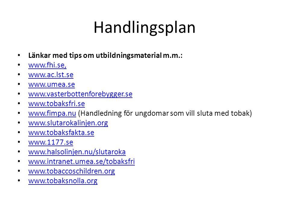 Handlingsplan • Länkar med tips om utbildningsmaterial m.m.: • www.fhi.se, www.fhi.se, • www.ac.lst.se www.ac.lst.se • www.umea.se www.umea.se • www.v