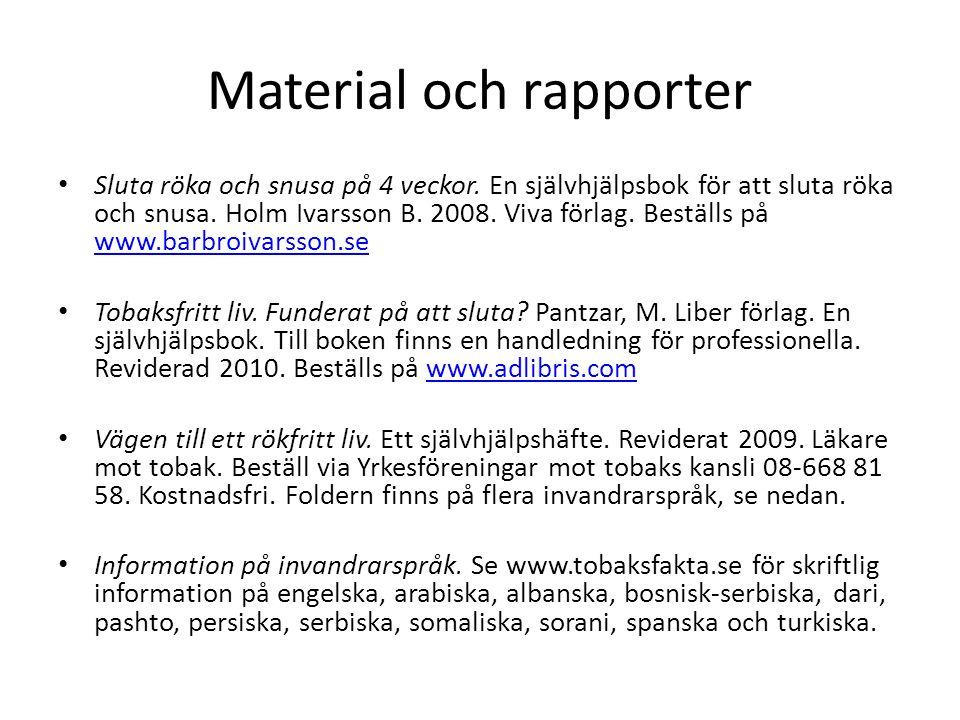 Material och rapporter • Sluta röka och snusa på 4 veckor. En självhjälpsbok för att sluta röka och snusa. Holm Ivarsson B. 2008. Viva förlag. Beställ