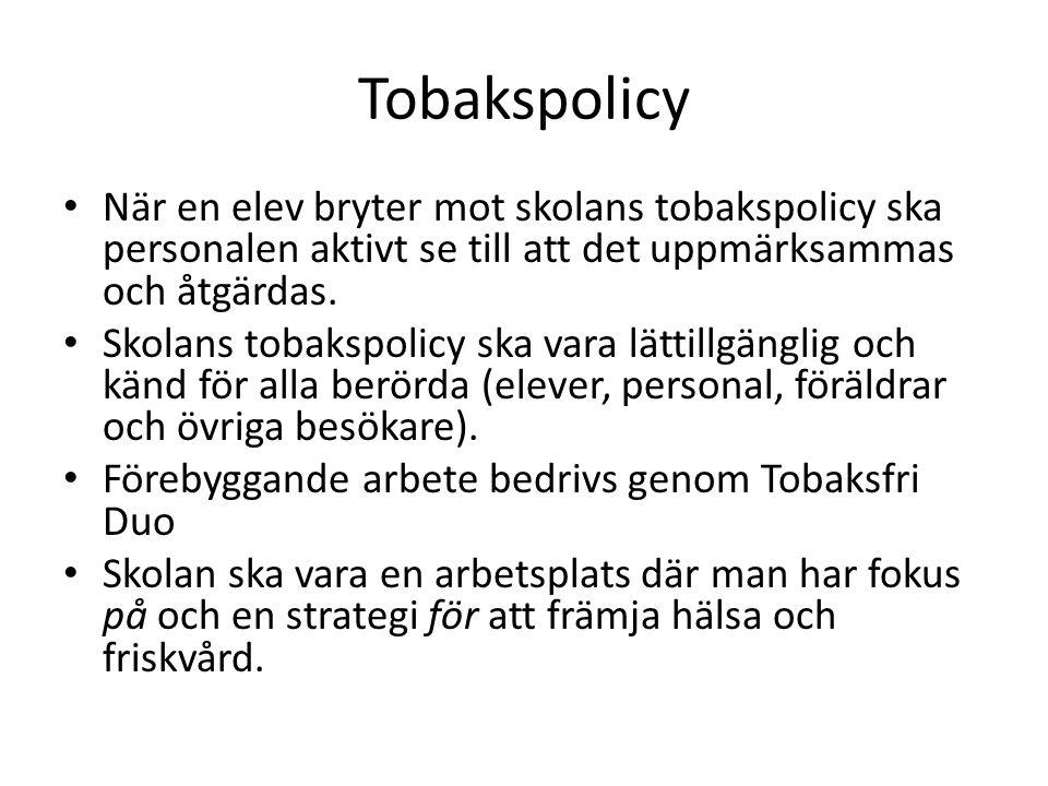 Tobakspolicy • När en elev bryter mot skolans tobakspolicy ska personalen aktivt se till att det uppmärksammas och åtgärdas. • Skolans tobakspolicy sk