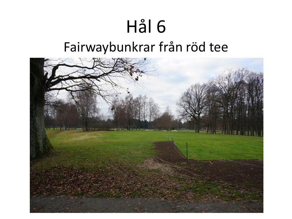 Hål 6 Fairwaybunkrar från röd tee