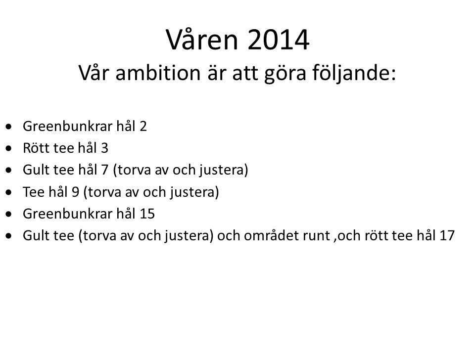 Våren 2014 Vår ambition är att göra följande:  Greenbunkrar hål 2  Rött tee hål 3  Gult tee hål 7 (torva av och justera)  Tee hål 9 (torva av och