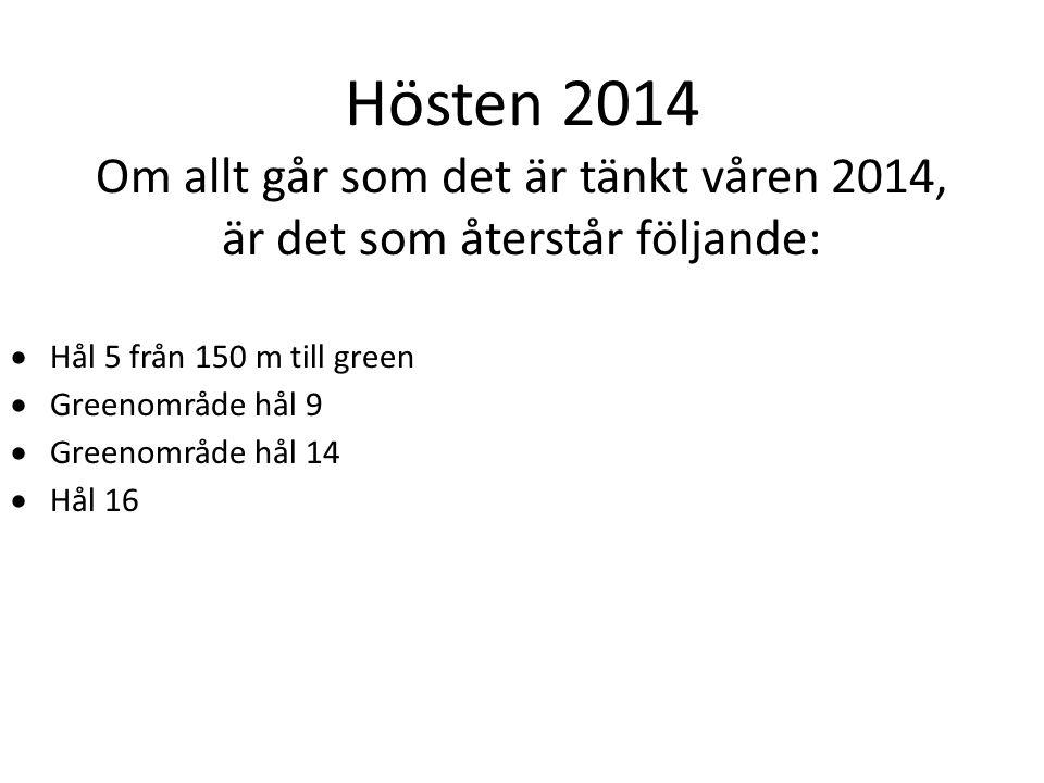 Hösten 2014 Om allt går som det är tänkt våren 2014, är det som återstår följande:  Hål 5 från 150 m till green  Greenområde hål 9  Greenområde hål 14  Hål 16