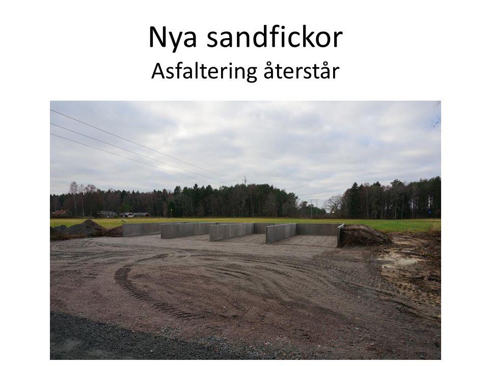 Nya sandfickor Asfaltering återstår