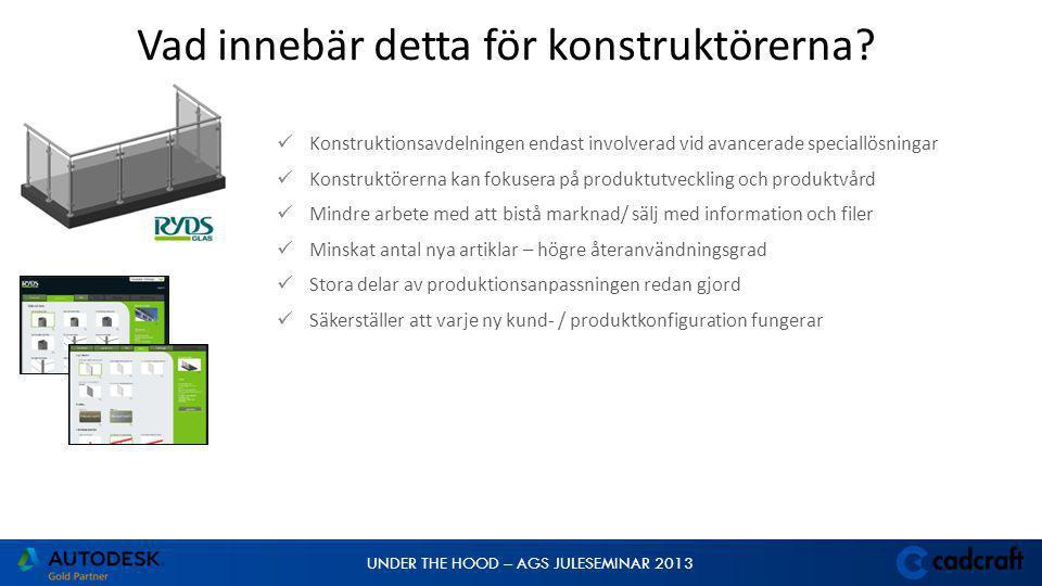 UNDER THE HOOD – AGS JULESEMINAR 2013  Konstruktionsavdelningen endast involverad vid avancerade speciallösningar  Konstruktörerna kan fokusera på p