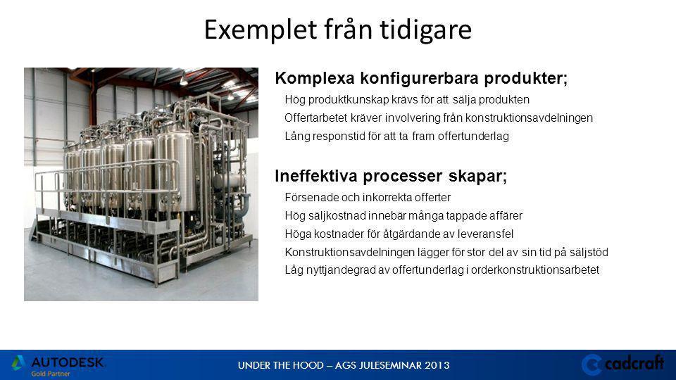UNDER THE HOOD – AGS JULESEMINAR 2013 Komplexa konfigurerbara produkter; Hög produktkunskap krävs för att sälja produkten Offertarbetet kräver involvering från konstruktionsavdelningen Lång responstid för att ta fram offertunderlag Ineffektiva processer skapar; Försenade och inkorrekta offerter Hög säljkostnad innebär många tappade affärer Höga kostnader för åtgärdande av leveransfel Konstruktionsavdelningen lägger för stor del av sin tid på säljstöd Låg nyttjandegrad av offertunderlag i orderkonstruktionsarbetet Bid and Order Processes Challenges Exemplet från tidigare