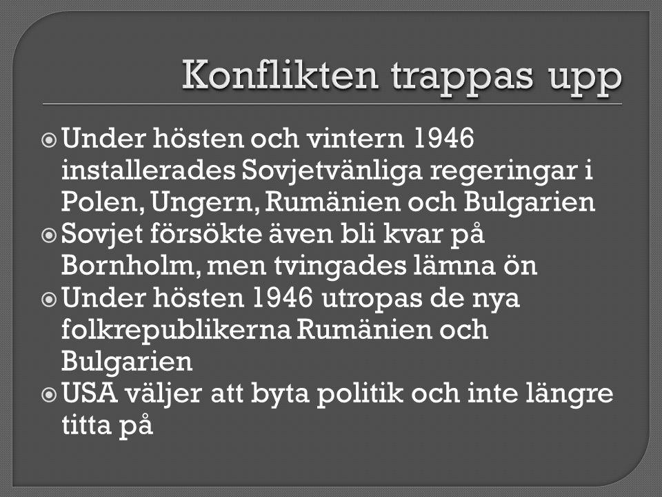  Under hösten och vintern 1946 installerades Sovjetvänliga regeringar i Polen, Ungern, Rumänien och Bulgarien  Sovjet försökte även bli kvar på Born