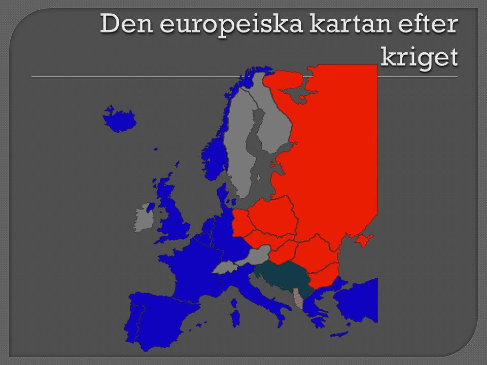 USA CCCP  Ett starkt Europa att handla med en stark allierad i Västtyskland  Hindra ett nytt sovjetiskt imperium – skapa balans  Hindra Sovjet att kräva ett ekonomiskt krigsskadestånd av Tyskland för att förhindra en ny Versaillesfred  Skapa en buffertzon mot Tyskland och därmed förhindra framtida krig  När krigsskadeståndet nekades svarade Stalin med att bilda staten DDR 1948  Var i behov av tillgången till världshaven – påtryckningar mot Turkiet