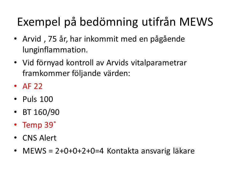 Exempel på bedömning utifrån MEWS • Arvid, 75 år, har inkommit med en pågående lunginflammation. • Vid förnyad kontroll av Arvids vitalparametrar fram