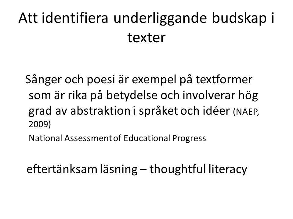Att identifiera underliggande budskap i texter Sånger och poesi är exempel på textformer som är rika på betydelse och involverar hög grad av abstraktion i språket och idéer (NAEP, 2009) National Assessment of Educational Progress eftertänksam läsning – thoughtful literacy