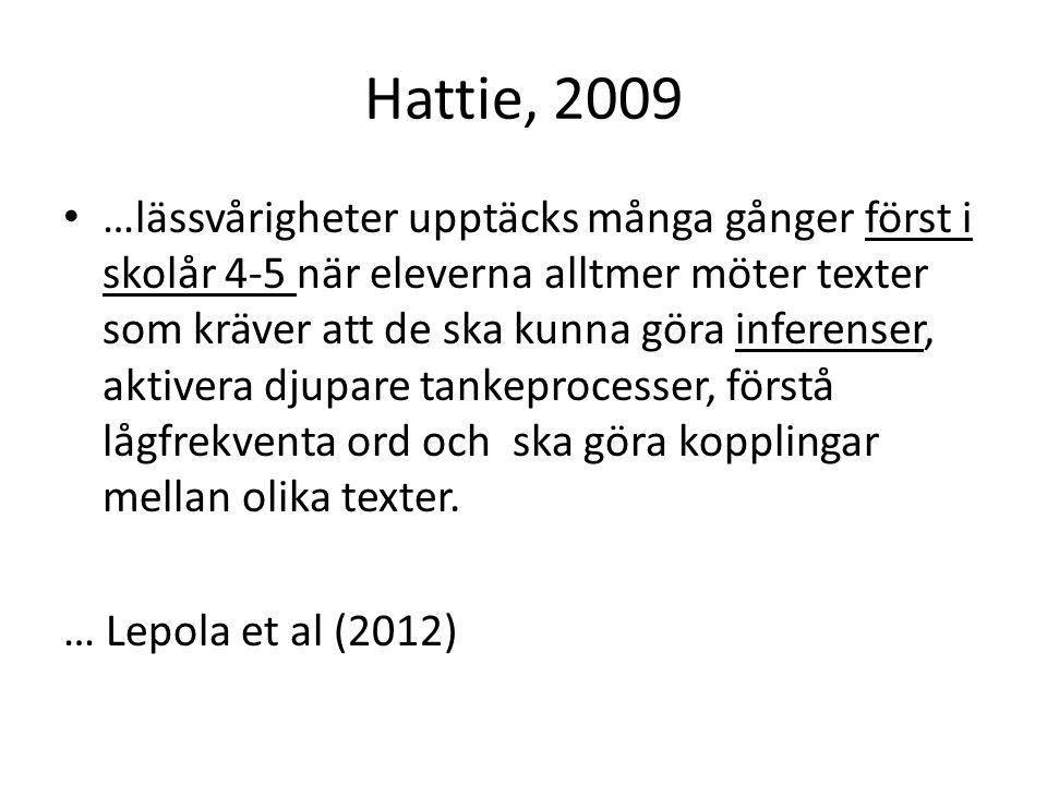 Hattie, 2009 • …lässvårigheter upptäcks många gånger först i skolår 4-5 när eleverna alltmer möter texter som kräver att de ska kunna göra inferenser, aktivera djupare tankeprocesser, förstå lågfrekventa ord och ska göra kopplingar mellan olika texter.