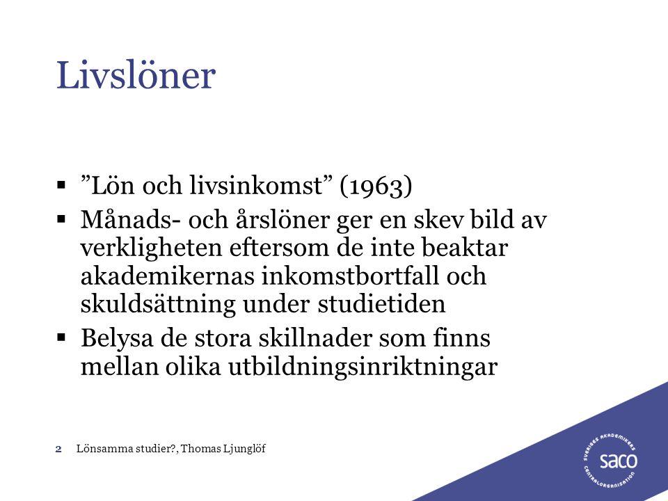 """2Lönsamma studier?, Thomas Ljunglöf Livslöner  """"Lön och livsinkomst"""" (1963)  Månads- och årslöner ger en skev bild av verkligheten eftersom de inte"""
