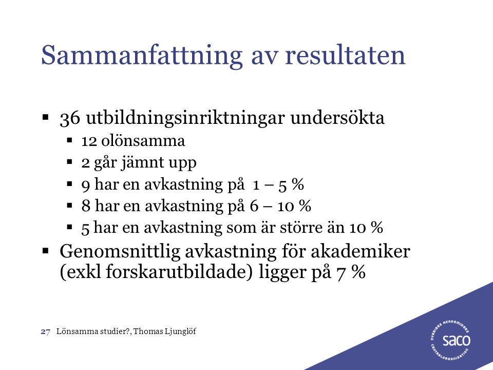 27Lönsamma studier?, Thomas Ljunglöf Sammanfattning av resultaten  36 utbildningsinriktningar undersökta  12 olönsamma  2 går jämnt upp  9 har en