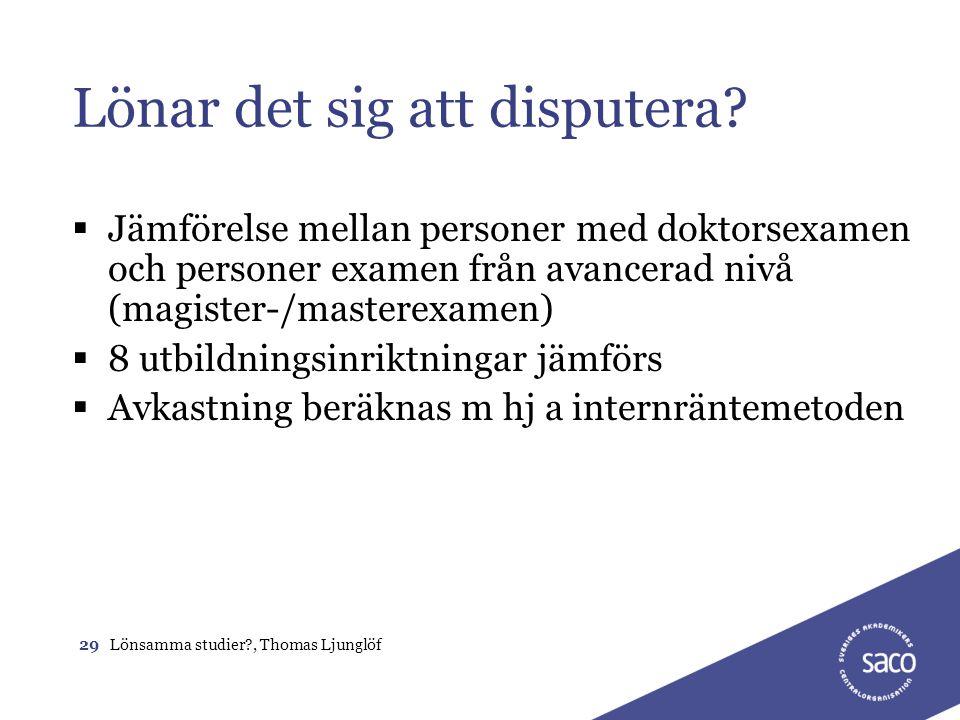 29Lönsamma studier?, Thomas Ljunglöf Lönar det sig att disputera?  Jämförelse mellan personer med doktorsexamen och personer examen från avancerad ni