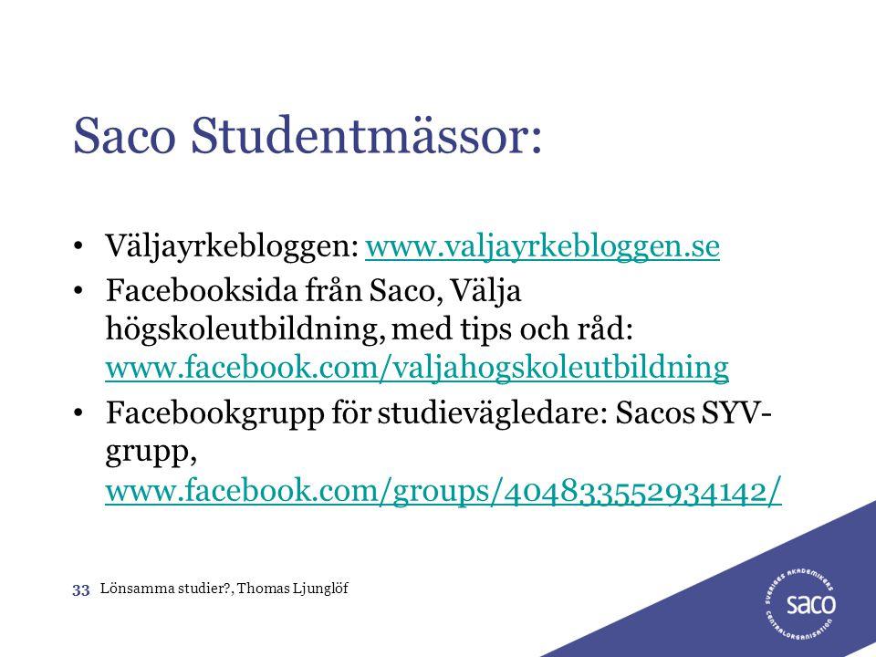 Saco Studentmässor: • Väljayrkebloggen: www.valjayrkebloggen.sewww.valjayrkebloggen.se • Facebooksida från Saco, Välja högskoleutbildning, med tips oc