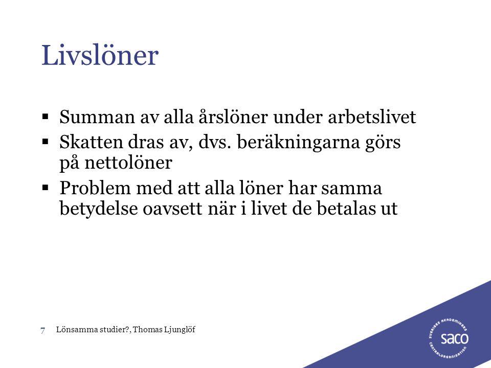 7Lönsamma studier?, Thomas Ljunglöf Livslöner  Summan av alla årslöner under arbetslivet  Skatten dras av, dvs. beräkningarna görs på nettolöner  P