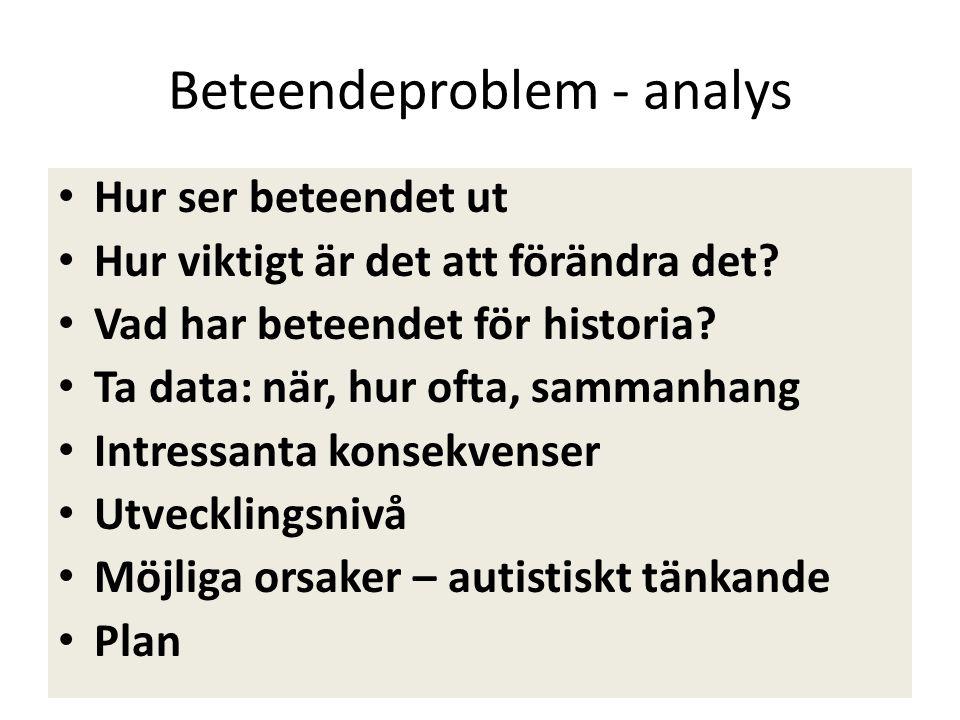Beteendeproblem - analys • Hur ser beteendet ut • Hur viktigt är det att förändra det? • Vad har beteendet för historia? • Ta data: när, hur ofta, sam