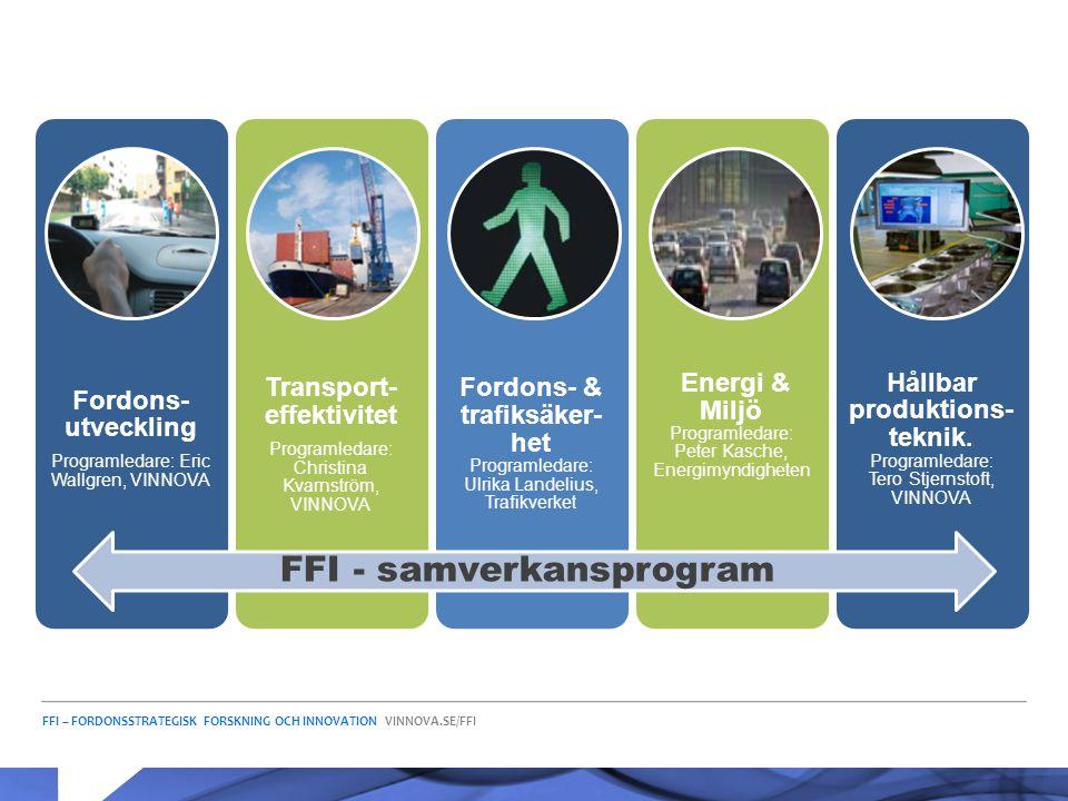FFI – FORDONSSTRATEGISK FORSKNING OCH INNOVATION VINNOVA.SE/FFI Fordons- utveckling Programledare: Eric Wallgren, VINNOVA Transport- effektivitet Prog