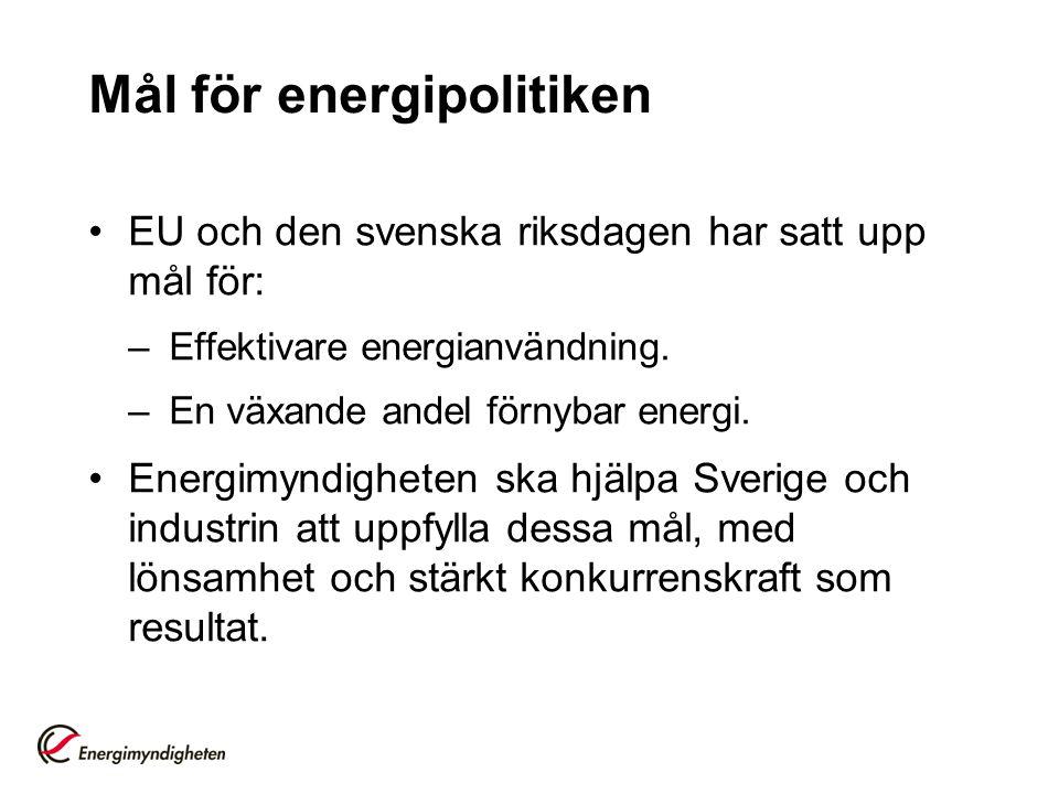 Mål för energipolitiken •EU och den svenska riksdagen har satt upp mål för: –Effektivare energianvändning. –En växande andel förnybar energi. •Energim