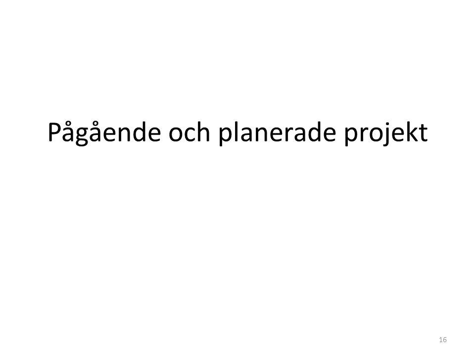 Pågående och planerade projekt 16