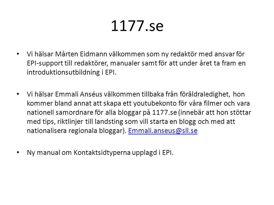 1177.se • Vi hälsar Mårten Eidmann välkommen som ny redaktör med ansvar för EPI-support till redaktörer, manualer samt för att under året ta fram en i