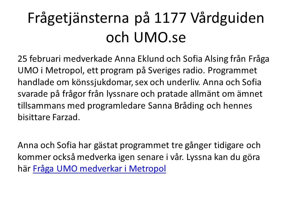 Frågetjänsterna på 1177 Vårdguiden och UMO.se 25 februari medverkade Anna Eklund och Sofia Alsing från Fråga UMO i Metropol, ett program på Sveriges r