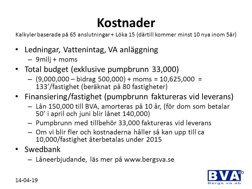 Kostnader Kalkyler baserade på 65 anslutningar + Löka 15 (därtill kommer minst 10 nya inom 5år) • Ledningar, Vattenintag, VA anläggning – 9milj + moms