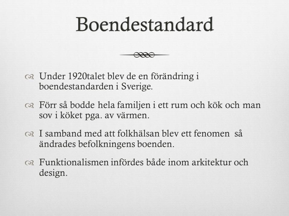 Boendestandard  Under 1920talet blev de en förändring i boendestandarden i Sverige.