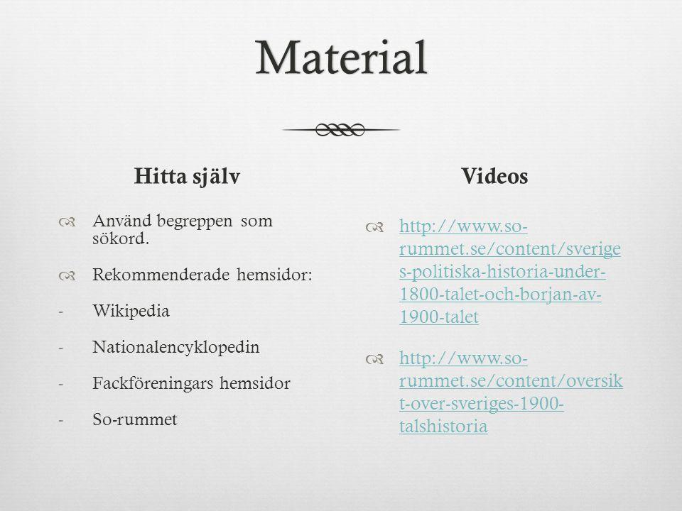 Material Hitta själv  Använd begreppen som sökord.
