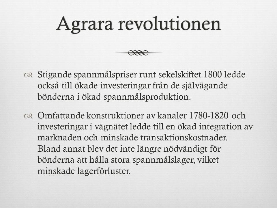 Agrara revolutionenAgrara revolutionen  Stigande spannmålspriser runt sekelskiftet 1800 ledde också till ökade investeringar från de självägande bönderna i ökad spannmålsproduktion.