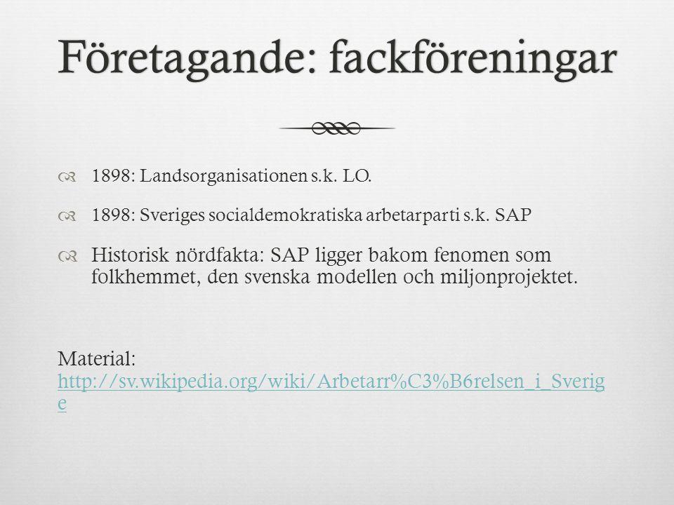 Företagande: fackföreningarFöretagande: fackföreningar  1898: Landsorganisationen s.k.